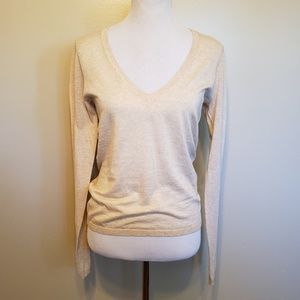 Theory   Cotton low v neck lightweight pullover